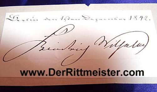 CLIPPED SIGNATURE - KÖNIG FRIEDRICH WILHELM IV OF PRUSSIA - Imperial German Military Antiques Sale