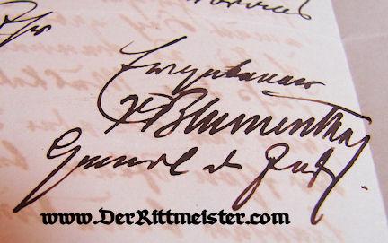 AUTOGRAPHED LETTER - GENERALFELDMARSCHALL LEONHARD GRAF von BLUMENTHAL - Imperial German Military Antiques Sale