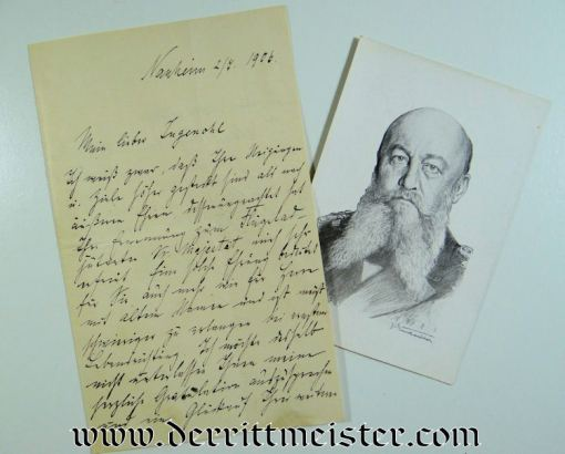 HANDWRITTEN LETTER TO FRIEDRICH von INGENOHL FROM ADMIRAL ALFRED von TIRPITZ - Imperial German Military Antiques Sale