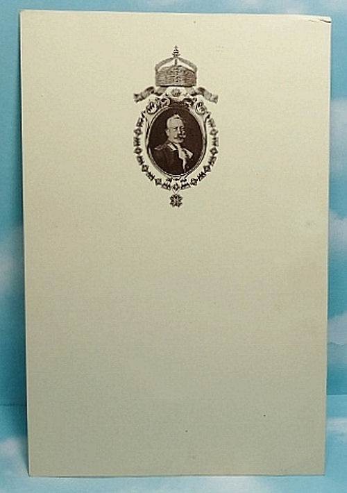 UNUSED MENU CARD FROM KAISER WILHELM II's EXILE AT HAUS DOORN - THE NETHERLANDS - Imperial German Military Antiques Sale