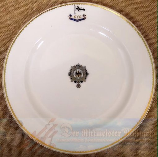DINNER PLATE FROM KAISER WILHELM II'S KAISERLICHER YACHT CLUB (KYC) RACING SLOOP S. M. Y. IDUNA - Imperial German Military Antiques Sale