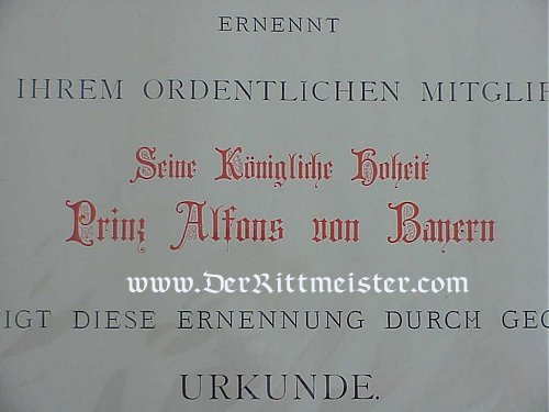 URKUNDE TO PRINZ ALFONS - Imperial German Military Antiques Sale
