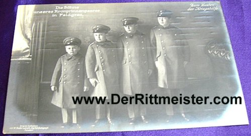POSTCARD - FOUR OLDEST SONS - KRONPRINZ WILHELM AND KRONPRINZESSIN CECILIE - Imperial German Military Antiques Sale
