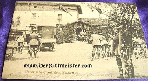 POSTCARD - KÖNIG LUDWIG III BAVARIA EMERGING FROM INN - FRANCE - Imperial German Military Antiques Sale