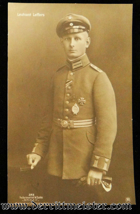 SANKE CARD Nr 372 - PLM WINNER LEUTNANT GUSTAV LEFFERS - Imperial German Military Antiques Sale
