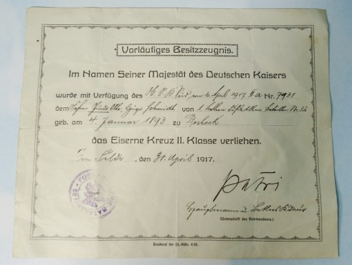 AWARD DOCUMENT AND 1914 IRON CROSS 2nd CLASS FROM FUßARTILLERIE-BATAILLON Nr 32 - Imperial German Military Antiques Sale