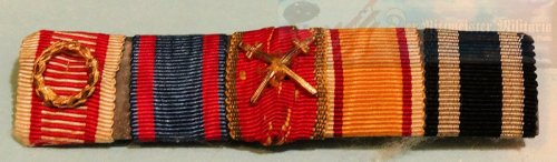 PRUSSIA / SAXE COBURG GOTHA / OLDENBURG - RIBBON BAR - FIVE-PLACE - Imperial German Military Antiques Sale