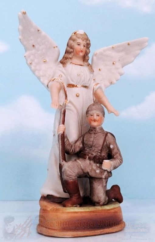 SMALL PORCELAIN STATUE OF ANGEL PROTECTING GERMAN SOLDIER. - Imperial German Military Antiques Sale
