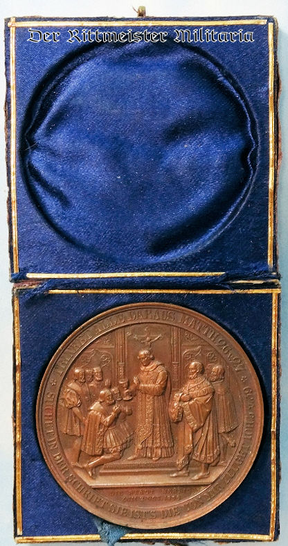 TABLE MEDAL - COMMEMORATING KURFÜRST JOACHIM II AND KÖNIG FRIEDRICH WILHELM III - CASED - Imperial German Military Antiques Sale