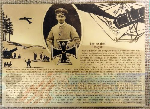 """AVIATION POSTCARD FEATURING """"THE NAKED PILOT."""" - Imperial German Military Antiques Sale"""
