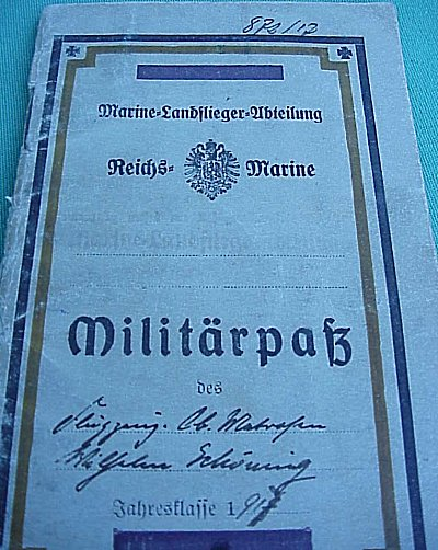 NAVY LAND PLANE MILITÄRPAß - Imperial German Military Antiques Sale