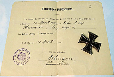AWARD DOCUMENT AND 1914 IRON CROSS 1st CLASS IDENTIFIED TO ULANEN-REGIMENT Nr 10'S BAERECKE - Imperial German Military Antiques Sale