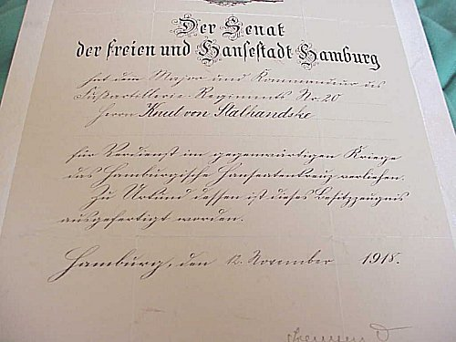AWARD DOCUMENT FOR THE HAMBURG HANSEATIC CROSS - Imperial German Military Antiques Sale