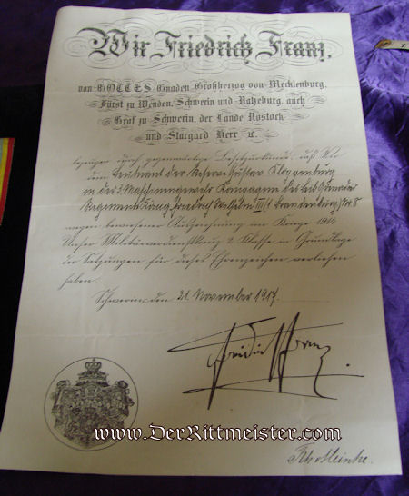 DOCUMENT & DECORATION - 1914 MILITARY SERVICE CROSS 2nd CLASS - MECKLENBURG-SCHWERIN - Imperial German Military Antiques Sale