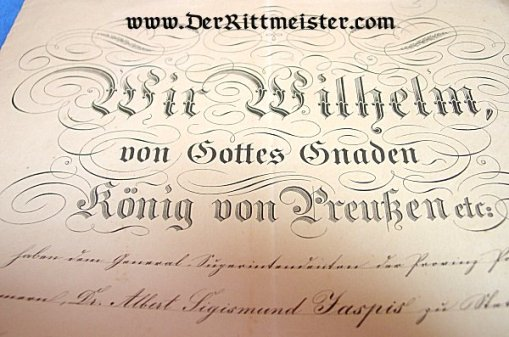 RED EAGLE ORDER 2nd CLASS AWARD DOCUMENT SIGNED - KING WILHELM I (LATER KAISER WILHELM I) OF PRUSSIA - Imperial German Military Antiques Sale