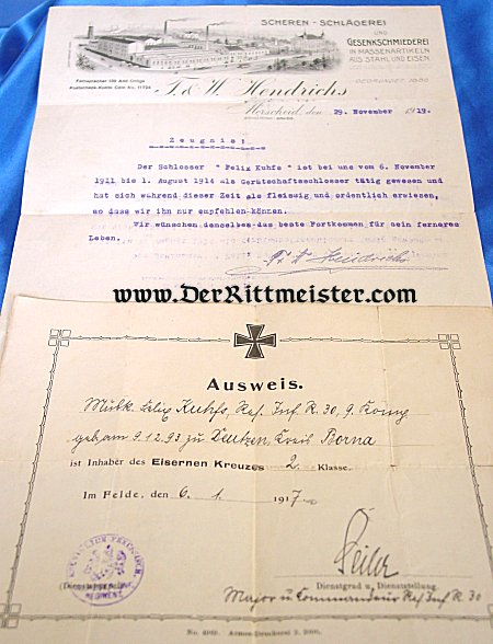 1914 IRON CROSS 2nd CLASS AWARD DOCUMENT AND POSTWAR LETTER OF RECOMMENDATION - Imperial German Military Antiques Sale