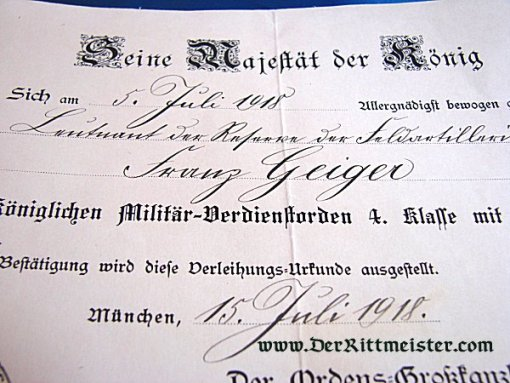 BAVARIA - AWARD DOCUMENT - MILITARY SERVICE ORDER 4th CLASS WITH SWORDS - Imperial German Military Antiques Sale