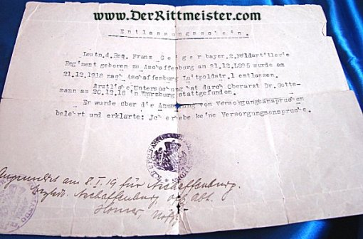 AWARD DOCUMENT - MILITARY SERVICE ORDER 4th CLASS WITH SWORDS - BAVARIA - Imperial German Military Antiques Sale