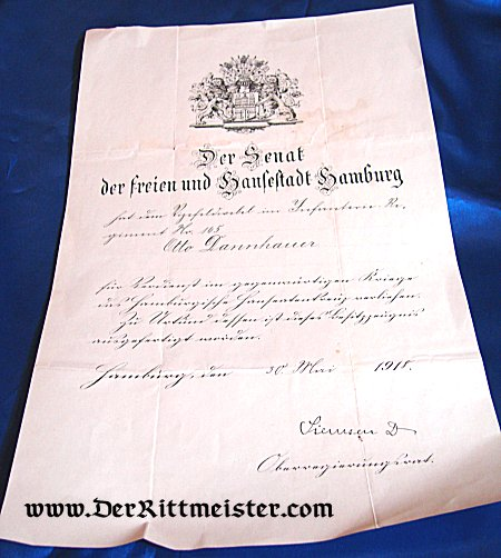 AWARD DOCUMENT - HANSEATIC CROSS - HAMBURG - Imperial German Military Antiques Sale