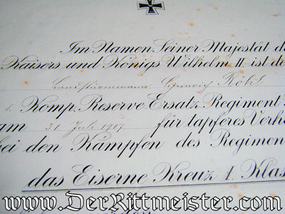 FRAMED 1914 IRON CROSS 1st CLASS AWARD DOCUMENT - Imperial German Military Antiques Sale