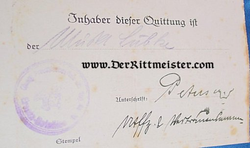 DOCUMENT - LUDENDORFF SPENDE - Imperial German Military Antiques Sale
