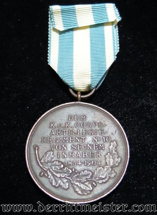 BRONZE PRINZ LUITPOLD JUBILEE MEDAL (1854-1904) FOR K.u.K CORPS-ARTILLERIE REGIMENT Nr 10 - BAVARIA - Imperial German Military Antiques Sale