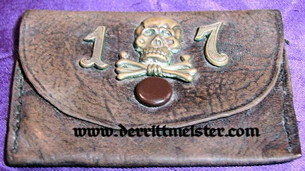 HUSAREN-REGIMENT Nr 17 LEATHER CHANGE PURSE - BRAUNSCHWEIG - Imperial German Military Antiques Sale