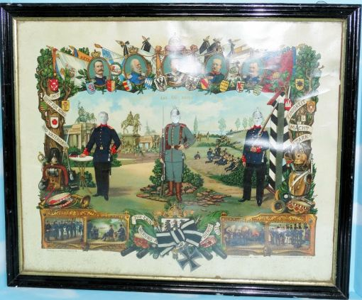 GERMANY - COMMEMORATION - FRAMED - GERMAN SOLDIER'S WW I SERVICE - Imperial German Military Antiques Sale