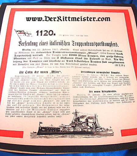 GERMANY - DOCUMENT - WAR ANNOUNCEMENT - Nr 1120: SINKING ITALIAN TROOP TRANSPORT AND OTHER NAVAL DEVELOPMENTS - Imperial German Military Antiques Sale
