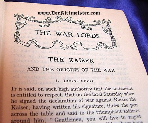 U.K. - BOOK - THE WAR LORDS by A. G. GARDINIER - Imperial German Military Antiques Sale
