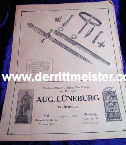ORIGINAL CATALOG - AUGUST LÜNEBURG - Imperial German Military Antiques Sale