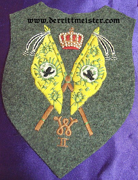 PRUSSIA - SLEEVE PATCH - REGIMENTAL FAHENTRÄGER FOR A FELDGRAU TUNIC - Imperial German Military Antiques Sale