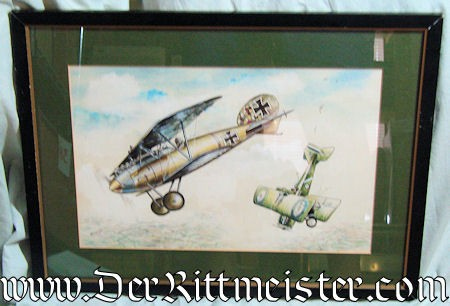 JACK D. HUNTER - ORIGINAL PAINTING  - FEATURING ONE ALBATROS D. Va AND ONE SE-5 - Imperial German Military Antiques Sale