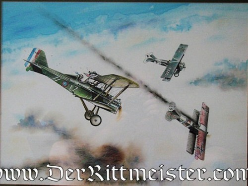 JACK D. HUNTER - ORIGINAL PAINTING  - FEATURING AMERICAN SE 5 ATTACKING A PAIR OF FOKKER D. VII's - Imperial German Military Antiques Sale