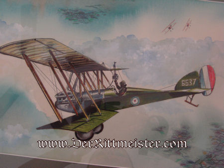 JACK D. HUNTER - ORIGINAL PAINTING - FEATURING BRITISH BE-12 PURSUED BY TWO ALBATROS FIGHTER-PLANES - Imperial German Military Antiques Sale