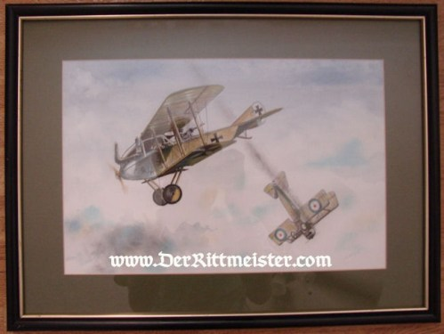 "JACK D. HUNTER - ORIGINAL PAINTING - FEATURING ALBATROS C. III & BRISTOL ""D"" SCOUT - Imperial German Military Antiques Sale"