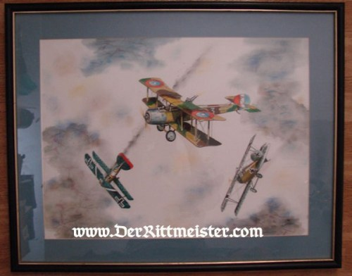 JACK D. HUNTER - ORIGINAL PAINTING - FEATURING AMERICAN SALMSON SAL 2-A-2 - Imperial German Military Antiques Sale