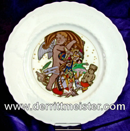 PLATE - MILITARY THEMES FROM CHILD'S VIEWPOINT - KPM - Imperial German Military Antiques Sale