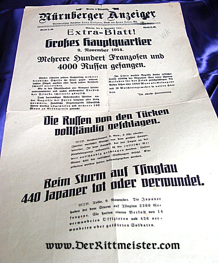 NEWSPAPER - NOVEMBER 1914 - WAR NEWS FROM SUPREME HEADQUARTERS - ACTION - TSINGTAU - Imperial German Military Antiques Sale
