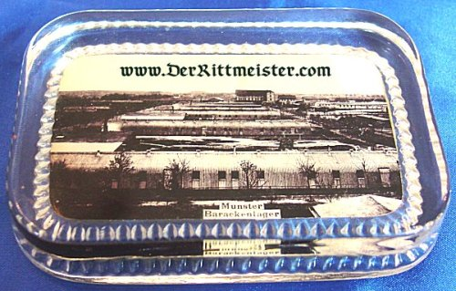 GLASS PAPERWEIGHT FEATURING - ARMY BARRACKS - MUNSTER - Imperial German Military Antiques Sale