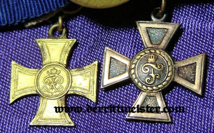 BOUTONNIERE - FIVE RIBBONS - TWO DECORATIONS - Imperial German Military Antiques Sale