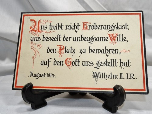 POSTCARD - FAMOUS KAISER WILHELM II QUOTE - Imperial German Military Antiques Sale
