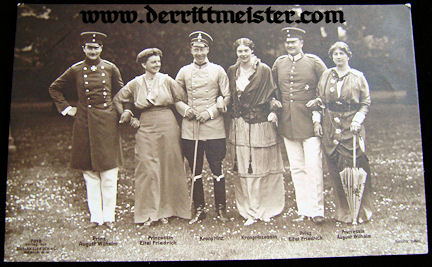 POSTCARD - CROWN PRINCE WILHELM, PRINCE AUGUST WILHELM, PRINCE EITEL FRIEDRICH, AND THEIR WIVES - Imperial German Military Antiques Sale