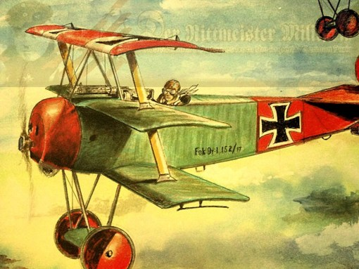 "JACK D. HUNTER - ORIGINAL PAINTING - FEATURING ""GEBRÜDER VON RICHTHOFEN"" - THE FOKKER DR. 1 TRIPLANES OF MANFRED AND LOTHAR VON RICHTHOFEN - Imperial German Military Antiques Sale"