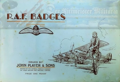 BOOK - R.A.F. BADGES - ISSUED BY JOHN PLAYER & SONS CIGARETTE COMPANY - Imperial German Military Antiques Sale