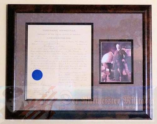 CUSTOM-FRAMED NAVAL ADMIRAL PATENT & PHOTOGRAPH SIGNED BY PRESIDENT THEODORE ROOSEVELT. - Imperial German Military Antiques Sale