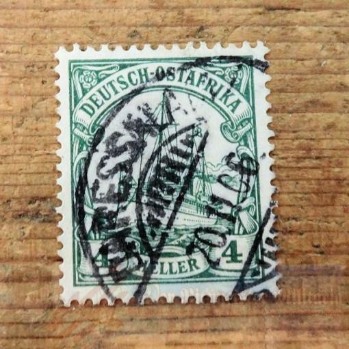 STAMP - GERMAN COLONIAL - GERMAN EAST AFRICA - 4 HELLER - POSTMARKED DAR ES SALAAM - Imperial German Military Antiques Sale