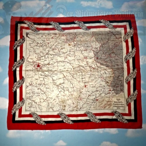 PATRIOTIC TABLE/DRESSER SCARF - WESTERN FRONT MAP - 1914 - Imperial German Military Antiques Sale