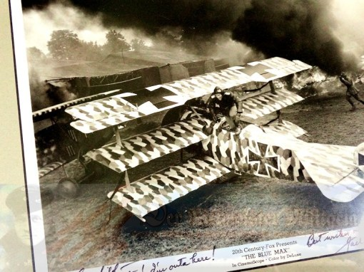 "THE BLUE MAX MOVIE STILL - FOKKER TRIPLANE PHOTOGRAPH - AUTOGRAPHED AND PERSONALIZED TO ""DER RITTMEISTER"" - Imperial German Military Antiques Sale"