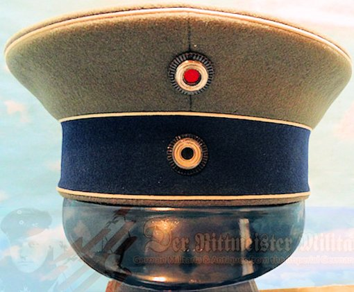 PRUSSIA - SCHIRMMÜTZE - OFFICER'S - FELDGRAU - GARDE-KÜRAßIER-REGIMENT - Imperial German Military Antiques Sale